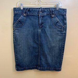 Lucky Brand Denim Midi Skirt Jeans Size 10